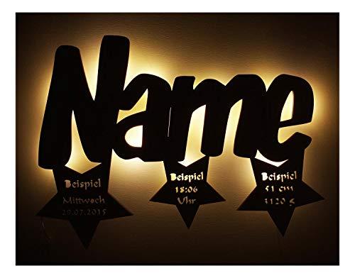 Led 3d Sterne Lampe mit Name personalisierte Babygeschenke Taufgeschenk  Geburtsgeschenk Geschenke zur Kommunion Mädchen Junge individuell ...